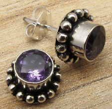 925 Silver Plated STUD Earrings, AMETHYST, SMOKY QUARTZ & Other Gemstone Choices