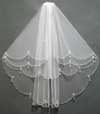 NEW 2T Elbow Beaded Edge Pearl white & ivory Bridal WEDDING Veil with comb