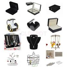 Earrings Cufflink Necklace Jewelry DIsplay Tree Bust Stand Holder Watch Case Box