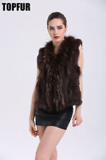 Top Quality100% Knitted Rabbit Fur Vest With Raccoon Fur Collar Women Coat V0102