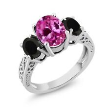 3.18 Ct Oval Pink Created Sapphire Black Onyx 925 Sterling Silver 3-Stone Ring