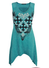 Sugar Rock Tunic Tank Shirt Shark Bite Crystal Cross Wings in Teal Mineral Wash