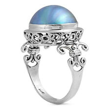 Women 17mm 925 Silver Bali Cultured Mabe Pearl Cocktail Vintage Style Ring Band