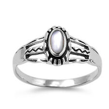 Women 9mm Sterling Silver Cultured Mother Pearl Ladies Vintage Style Ring Band