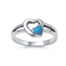 Women 8mm Sterling Silver Turquoise Double Heart Promise Vintage Style Ring Band