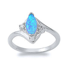 Women 13mm 925 Silver Marquise Blue Opal Bypass Ladies Vintage Style Ring Band