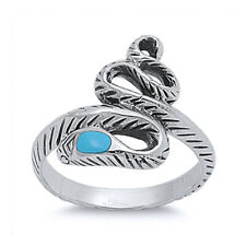 Women 18mm 925 Sterling Silver Turquoise Accented Snake Vintage Style Ring Band