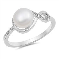 Women 9mm 925 Silver Freshwater Cultured Pearl CZ Ladies Vintage Style Ring Band