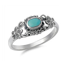 Women 8mm Sterling Silver Simulated Turquoise Promise Vintage Style Ring Band