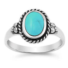 Women 12mm 925 Sterling Silver Oval Simulated Turquoise Vintage Style Ring Band