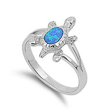 Women 15mm 925 Sterling Silver Blue Opal Turtle Vintage Style Ring Band