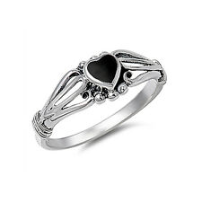 Women 7mm 925 Sterling Silver Black Onyx Heart Promise Vintage Style Ring Band