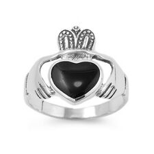 Women 19mm 925 Sterling Silver Black Onyx Heart Claddagh Vintage Style Ring Band