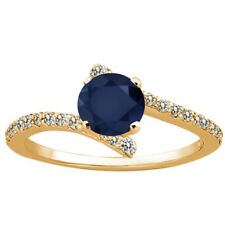 1.31 Ct Round Blue Sapphire White Diamond 18K Yellow Gold Plated Silver Ring