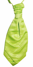 Lime Green Wedding Scrunchie Satin Cravat Mens and Boys