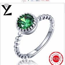 2017 Fashion Wedding Jewelry Green Ring with White Gold Filled Engagement Rings
