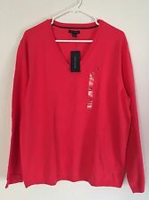 NWT Tommy Hilfiger  Classic V-Neck Solid Sweater XXL Pinkish Orange