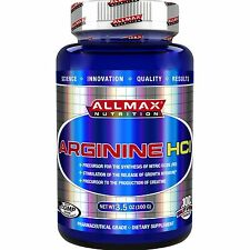ALLMAX NUTRITION ARGININE HCL - BOOST NITRIC OXIDE & MUSCLE- BOTH SIZES + SAMPLE