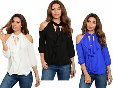 WOMENS LADIES CHIFFON COLD SHOULDER FRILL RUFFLED TUNIC BLOUSE TOP SIZE 10 12 14
