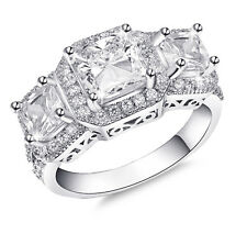 De Lelu Sterling Silver Princess Cut Three Stone Cubic Zirconia Engagement Ring