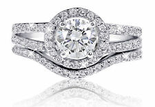 De Lelu Sterling Silver Cubic Zirconia Round Cut CZ Halo Engagement Ring Set