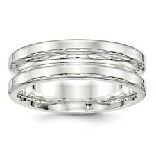 Sterling Silver 7mm Polished Grooved Fancy Flat Wedding Ring Band Sizes 7 - 13