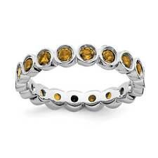 Sterling Silver Rhodium-Plated Bezel Eternity Citrine Stackable Ring Sz 5 - 10
