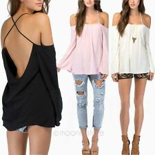 Womens Ladies Fashion Strap Cross Backless Long Sleeve Loose Blouse T-Shirt Tops