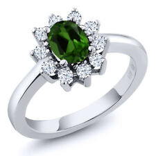 1.10 Ct Oval Green Chrome Diopside 925 Sterling Silver Ring