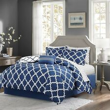 Navy Reversible Comforter & Sheet Set  Decorative Pillow, Shams and Bed Skirt