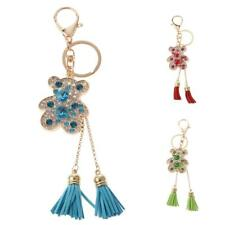 Cute Crystal Bear with Tassel Key Finder Keychain Purse Handbag Key Chain Ring