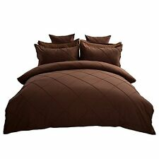 Fashion European Bedding Set Coffee Grid Duvet Cover Set Queen Bed Cover