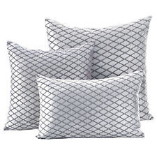 Diamond Check Velvet Silver Cushions - Soft Scatter Small & Large Cushion Cover