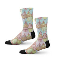 Colorful Cupcake Fun Crazy Cool Novelty 7 in Men Women Socks