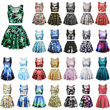 Fashion Womens Digital Graphic Print Crop Top Mini Skirt Skater Flared Dress Set