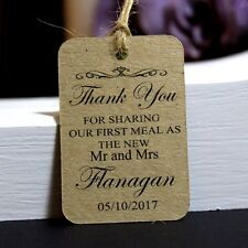25 Personalised Wedding Favor Tags, Thank you Gift, Mr and Mrs, First Meal,TGS15