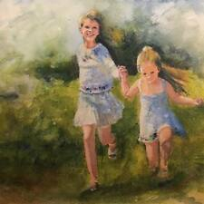 """A-673 Original Watercolor Painting """"Sisters are best friends"""" Gift Idea"""