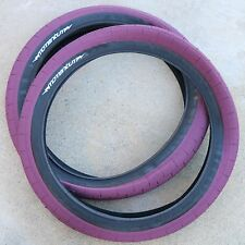 "PAIR OF DEMOLITION BMX BIKE MOMENTUM MAROON 20 x 2.35"" TIRES PRIMO CULT FIT"