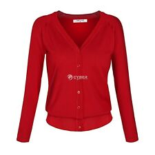 Angvns Stylish Ladies Women Casual Long Sleeve V Neck Solid Button DZ8802