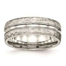 Chisel Stainless Steel Polished Hammered Grooved 7.5mm Wedding Band Size 7 to 13