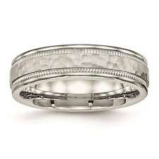 Chisel Stainless Steel Polished Hammered Grooved 6mm Wedding Band Size 6 to 13