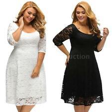 Plus Size Womens Sexy Lace Floral Bodycon Cocktail 3/4 Sleeves Mini Dress K9W8