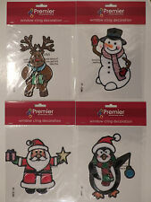Christmas Window Cling Decorations with Glitter (Choice of 4)