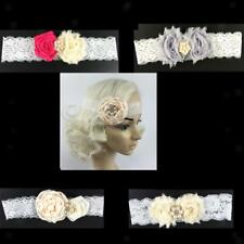 Girls Baby Flower Lace Pearls Elastic Headband Hair Band Party Hair Accessories