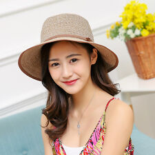 Lady's Wide Brim Sun Hats Womens New Beach Straw Hat Summer Outdoors Casual Hat
