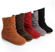 Hot Sale Womens Faux Suede Round Toe Shoes Slouch Flats Pull On Ankle Boots SIZE