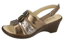 Ladies Eaze F3108 Synthetic Wedge Sling Back Sandals Bronze/Pewter