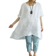 Vintage Womens Solid Short Sleeves Oversized Long Top Blouse Cotton T-Shirt U3D2