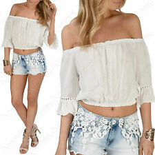 LADIES FRILL BARDOT CROP TOP WOMENS RUFFLE CUT OUT OFF SHOULDER WHITE GYPSY VEST
