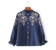 Women's Fashion Blouse Just Cavalli  Embroidery flower Round Neck Long Shirt Tee